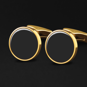 CUFFLINKS FOR MEN GOLD BLACK