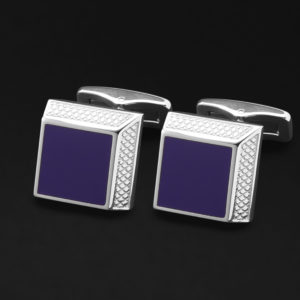 CUFFLINKS FOR MEN SILVER BLUE