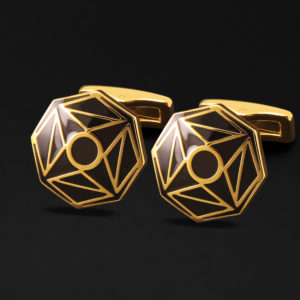 CUFFLINKS FOR MEN GOOLD BLACK