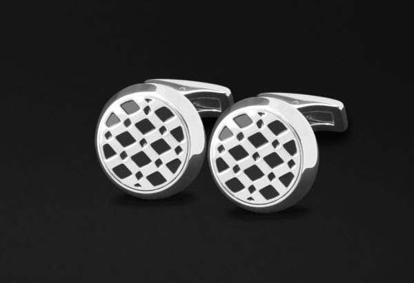 CUFFLINKS FOR MEN SILVER BLACK