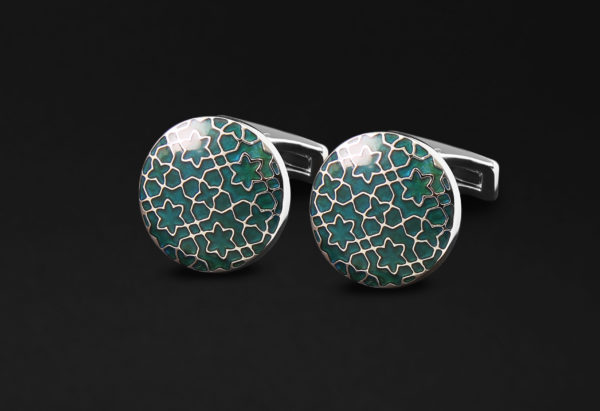 DAHNAG CUFFLINKS FOR ME NSILVER GREEN