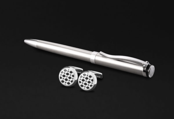 DAHNAG PEN AND CUFFLINKS SET FOR MEN SILVER BLACK