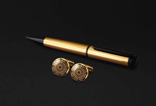 DAHNAG PEN AND CUFFLINKS SET FOR MEN GOLD BLACK