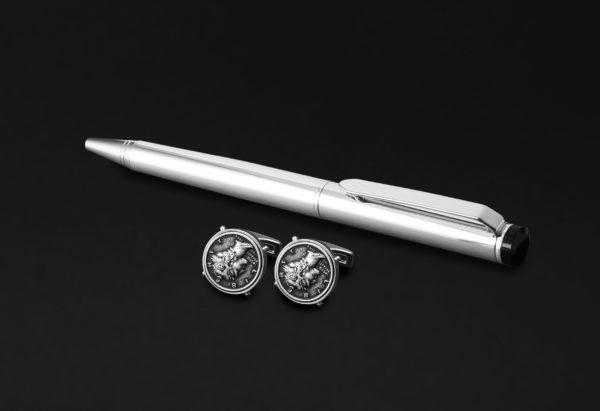 DAHNAG PEN AND CUFFLINKS SET FOR MEN SILVER