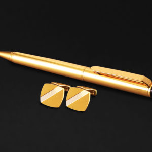 DAHNAG PEN AND CUFFLINKS SET FOR MEN GOLD