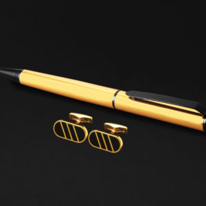 DAHNDAHNAG PEN AND CUFFLINKS SET FOR MEN GOLD BLACKAG PEN AND CUFFLINKS SET FOR MEN GOLD