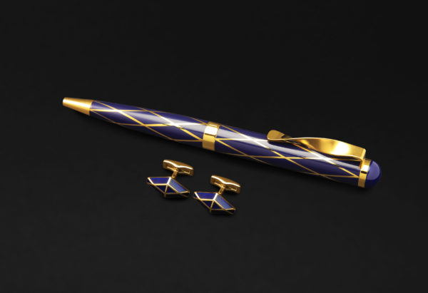 DAHNAG PEN AND CUFFLINKS SET FOR MEN GOLD BLUE