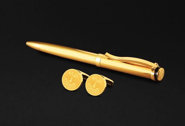 طقم كبكات وقلم ذهبي فخم